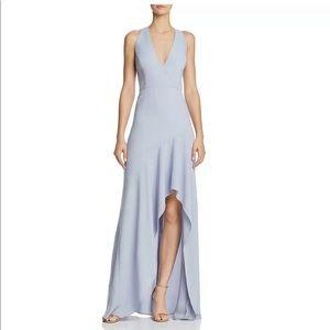 BCBG Obree blue high low halter formal gown nwt 6